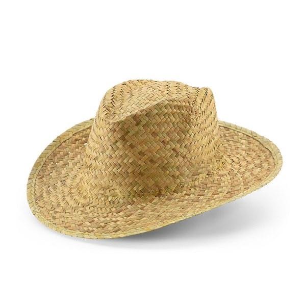 Chapeau en paille naturelle avec un ruban couleur crème
